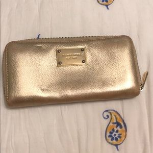 Gold leather Michael Kors wallet